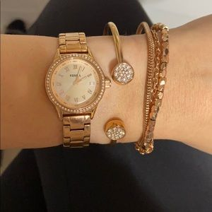Rose Gold Fossil Watch with Bracelets